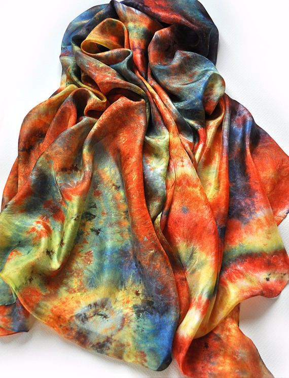 FREE SHIPPING  Silk Scarf Handmade  Hand Painted by ShellenD