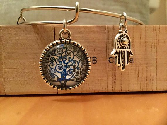 Hamsa/Tree of Life expandable charm Bracelet