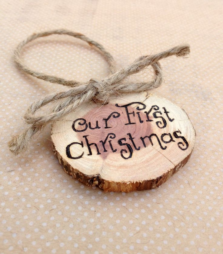 Personalized Rustic Christmas Ornament - Primitive Wood Slice Gift Tag. $10.00, via Etsy.