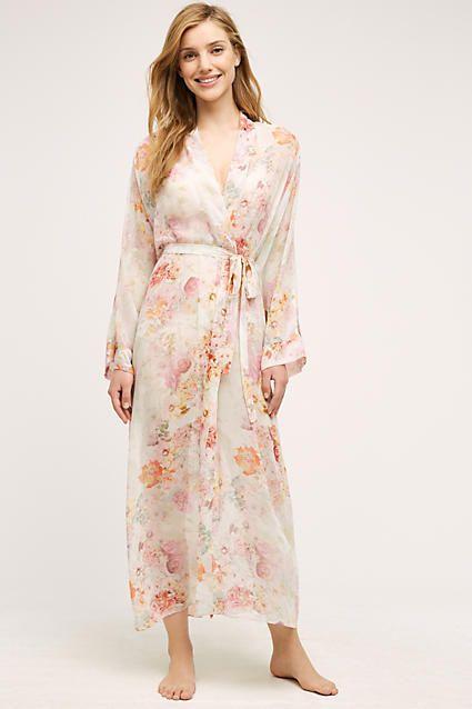 Flora Nikrooz Floral Chiffon Robe Neutral Motif Xs Lounge