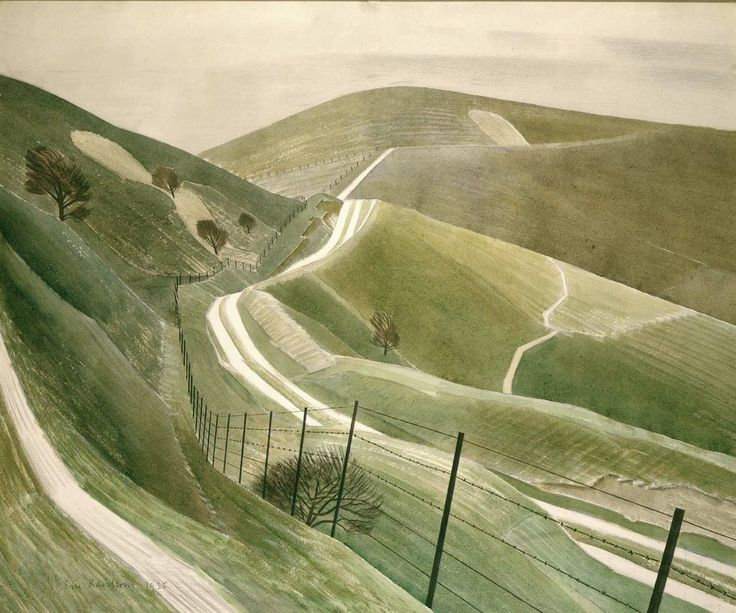 from Beneath the Stream - Colin William's blog. Artist not stated, but it looks like an Eric Ravilious to me - can anyone help?