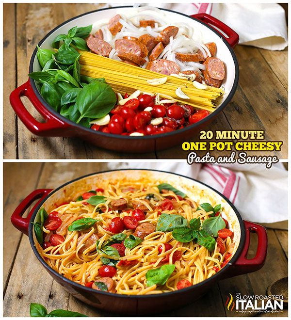 One Pot Cheesy Pasta and Sausage- A creamy cheesy tomato basil sauce is cooked right into the linguine pasta in this amazing One Pot Pasta recipe, ready in 20 Minutes!  Toss it all in a pot and let it cook.  It's so easy it just about cooks itself.  Now that's my kind of meal. #recipe #onepotmeal #cheesy #pasta GET THE RECIPE -- http://www.theslowroasteditalian.com/2014/03/one-pot-cheesy-pasta-and-sausage-recipe.html