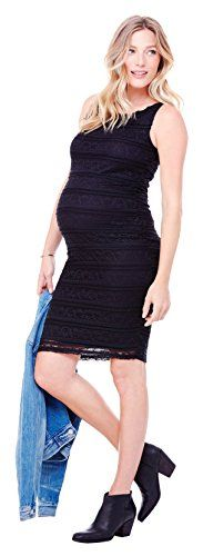Ingrid  Isabel Womens Maternity Sleeveless Lace Dress Jet Black Medium