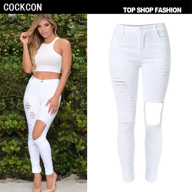 COCKCON Cotton High Elastic Imitate Jeans Woman Knee Skinny Pencil Pants Slim Ripped Jeans For Women Black Ripped Jeans TOP007-W