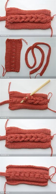 Faux braided cable ~ separate strip of knitting crocheted into buttonhole-like slits ~~Накладная коса крючком. Мини МК.