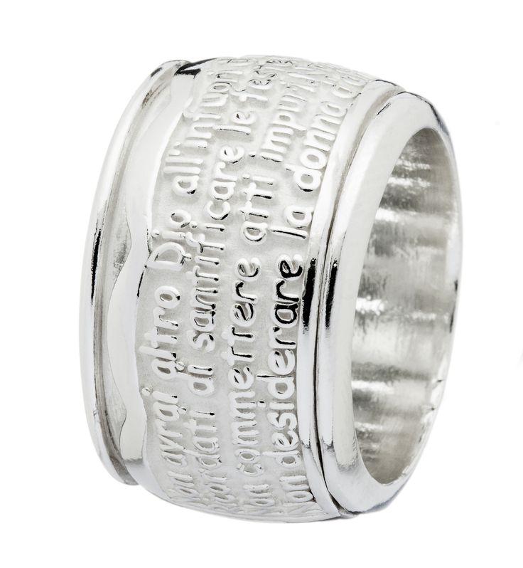Athena gioielli - Eden - anello in argento naturale: doppio anello in argento 925‰ naturale, l'anello superiore ruota sulla base sottostante (g. 23)