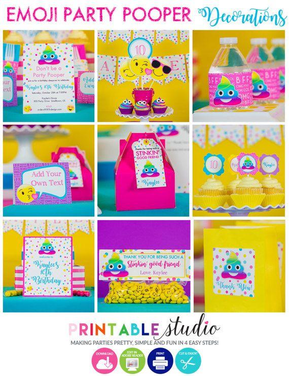 Emoji Party Decorations INSTANT DOWNLOAD by PrintableStudio505