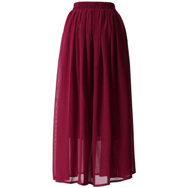 Chicwish Wine Red  Pleated Maxi Skirt ($36) ❤ liked on Polyvore featuring skirts, purple pleated maxi skirt, purple chiffon maxi skirt, long pleated skirt, chiffon maxi skirt and maxi skirt