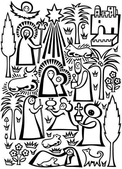 I searched all over the site for this nativity pattern. I finally copied and ran it off in my printer. I makes a good little coloring page for an older child or a print for in a frame.