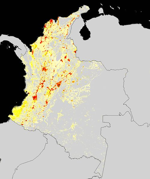 Colombia's population density Map