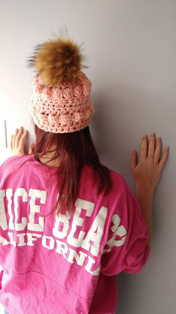 Slouch Bobble Knit Adult Beanie with pompom, slouch,    Winter hat, Spring hat, Warm ears