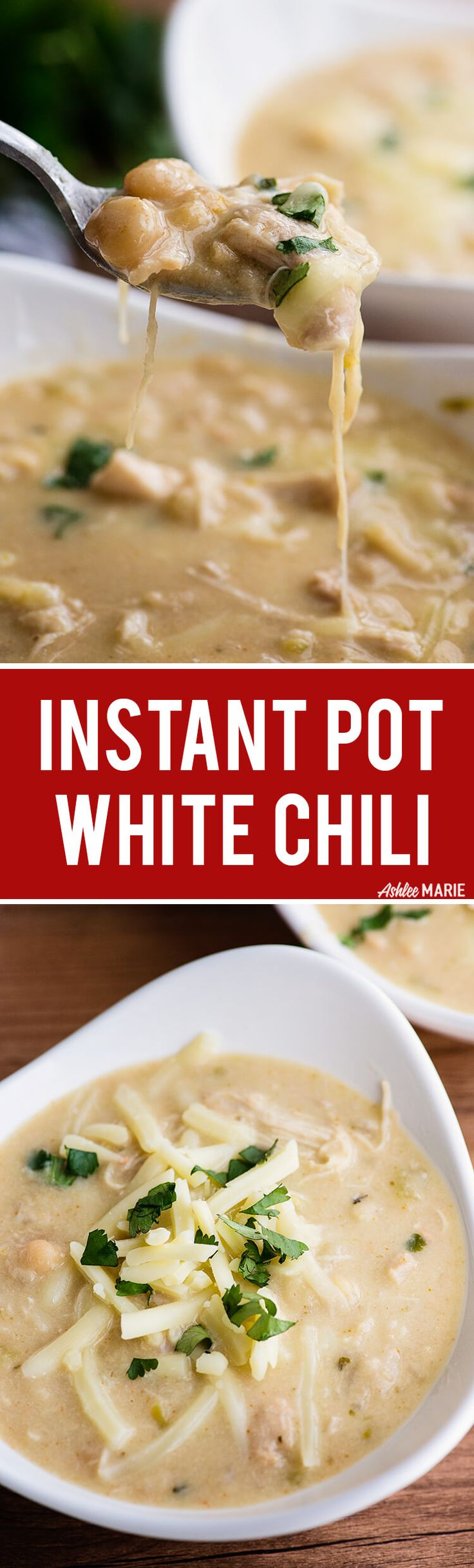 this easy instant pot white chicken chili is made with dried beans and everything is done in the instant pot - no frying or soaking or boiling on the side! easy peasy, creamy with a kick and a recipe video | instant pot | chili | comfort food | Ashlee Marie #instantpot #chili #comfortfood via @ashleemariecake