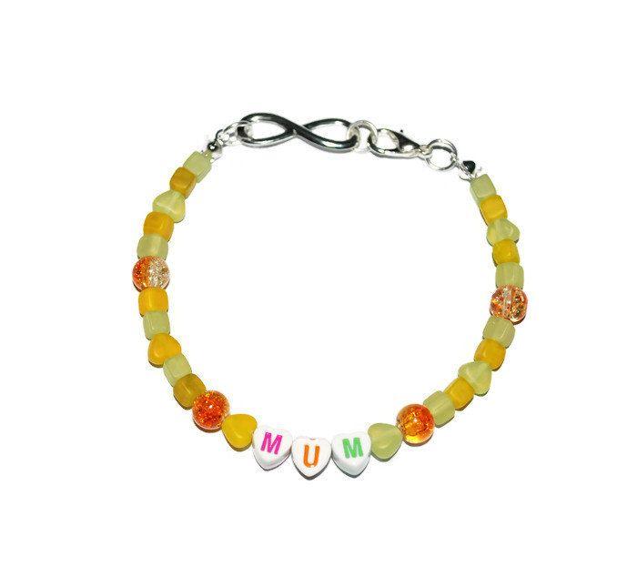 Mum infinity bracelet , mum bead bracelet, glass beads, mothers day gift by leonorafi on Etsy