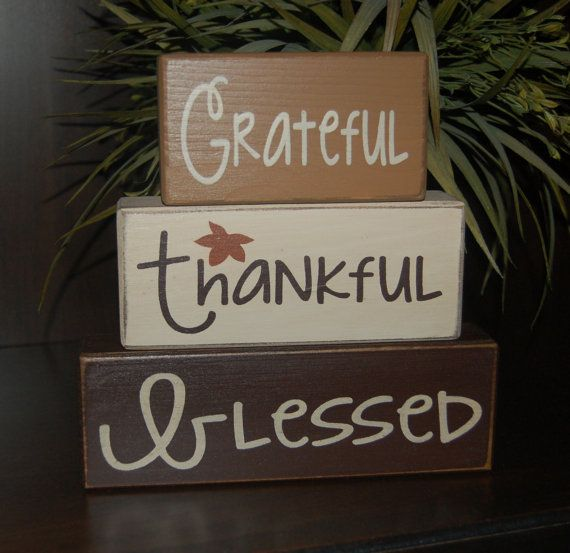 Grateful Thankful Blessed Primitive Wood Sign Blocks Distressed Word Stacking Blocks Home