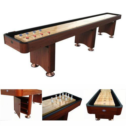 Shuffleboard-Table-14-039-Foot-Home-Game-Room-Wood-Cherry-Cabinet-Indoor-Standing