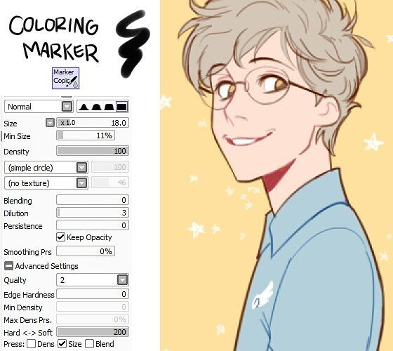 My brush settings for Paint Tool SAI by johannathemad