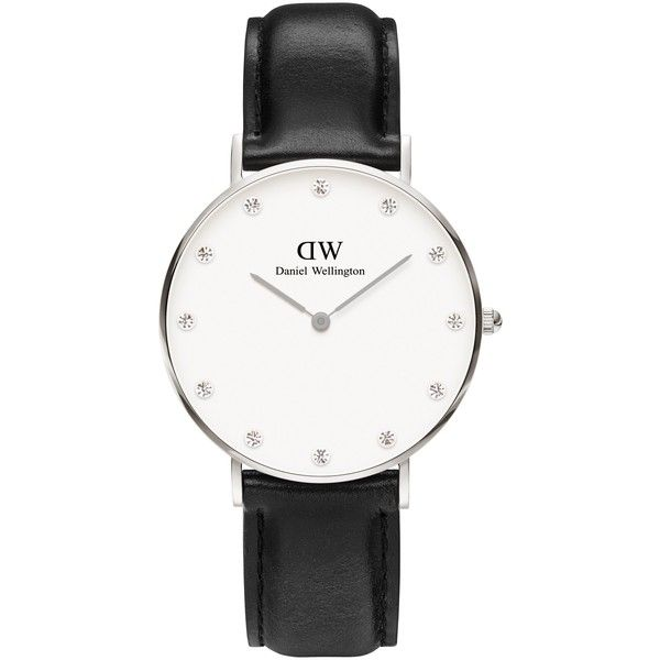 Daniel Wellington Women's Classy Leather Strap Watch , Black/Silver (290 AUD) ❤ liked on Polyvore featuring jewelry, watches, leather strap watches, swarovski crystal watches, silver watches, thin watches and thin wrist watch