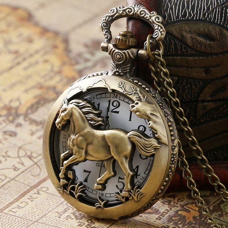 Retro Hollow Running Horse Carving Vintage Bronze Quartz Pocket Watch Men Women's Fob Watch With Chain Relogio de Bolso