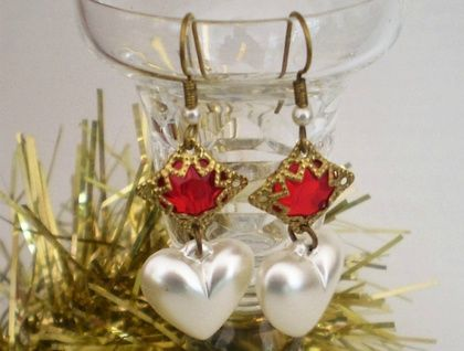 Ruby red vintage glass with pearlised hearts