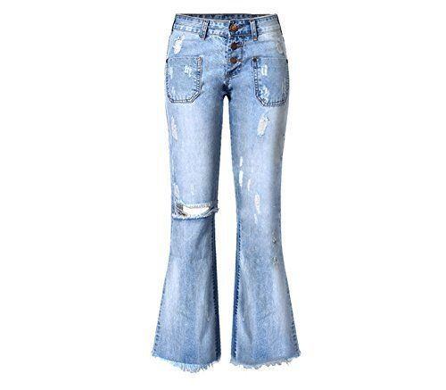 New Trending Denim: Womens Distressed Ripped Loose Bootcut Straight Leg Jeans Light Blue S. Women's Distressed Ripped Loose Bootcut Straight Leg Jeans Light Blue S  Special Offer: $34.58  466 Reviews Welcome to TccTccMallrich ShopFashion jeans for ladies,various of styles,there must be the one you will love, do not miss it S:Length:40.55 inch/103cm.Waist:27.56...