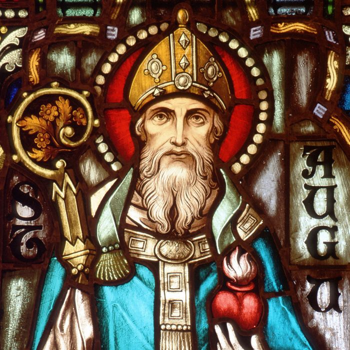 Holy, holy, holy: Pope talks about his eight favorite saints. (Including St. Augustine, pictured in stain glass)