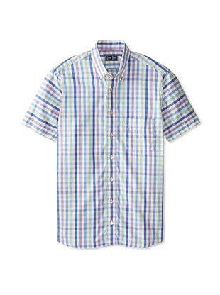 57% OFF Gitman Blue Men's Checked Short Sleeve Shirt (Purple/Blue/Green)
