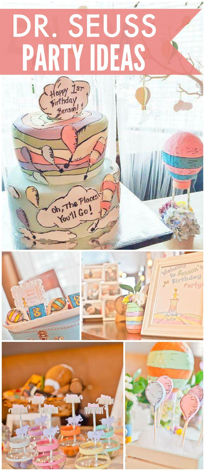 "This party brings Dr. Seuss' ""Oh, the Places You'll Go!"" to life! See more party ideas at CatchMyParty.com!"