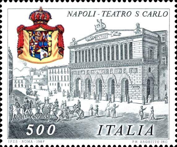 """1987 - Monumenti nazionali - """"Teatro San Carlo di Napol"""" - prospetto del Teatro tratto da una stampa d'epoca (Campania)"""