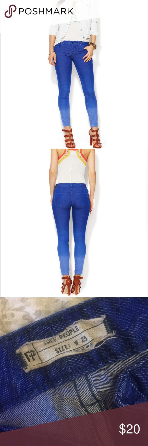 """Free People Ombré Cropped Skinny in Electric Blue Free People Ombré Cropped Skinny in Electric Blue. In GREAT condition. It's just wrinkled a bit from sitting in my closet. Size: 25 