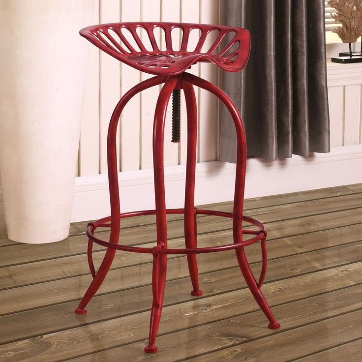 Distressed Red Tractor Design Seat Adjustable Swivel Bar Stool (Tractor Seat) (Metal)