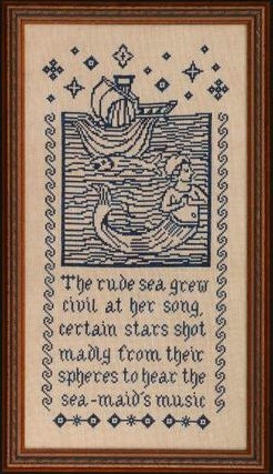 Medieval Mermaid counted cross stitch pattern overdyed threads Midsummer Night Designs Gentle Arts Simply Shaker : by thecottageneedleCIJ. $12.50, via Etsy.