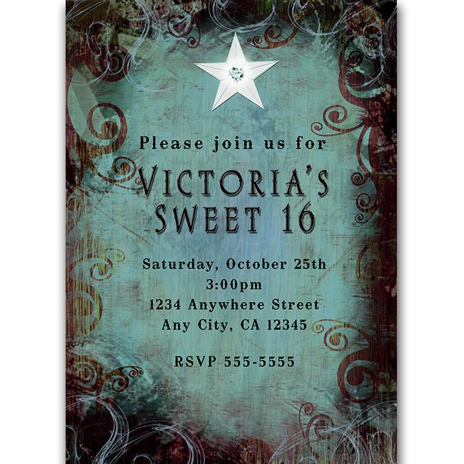 Country Western Glam Grunge Blue Brown Star Girls Sweet 16 Party Invitation
