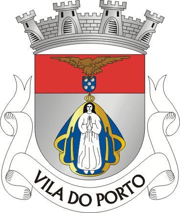 2) Vila do Porto - Ilha de Stª. Mª. - Açores - ... de quatro torres de prata. Listel branco com letras a negro «Vila do Porto».