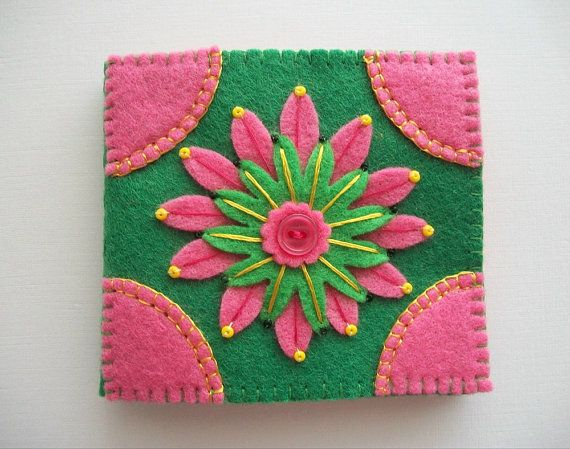 Needle Book Green Felt Cover with Pink by HandcraftedorVintage, $23.00