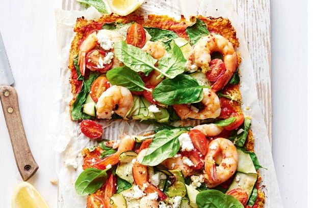 Pumpkin and chickpea pizza with prawns