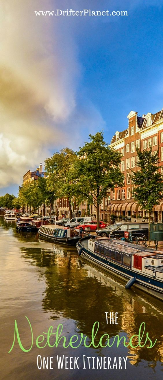 Itinerary for exploring the Netherlands for one week - self drive route that will take you all over the Netherlands so that you can start at Amsterdam and then enjoy the natural landscapes, old school windmills, tulip gardens, fishing villages, and beaches. #Amsterdam #holland #netherlands