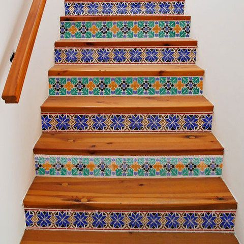 Stencils on stair risers looks like gorgeous custom tiles. Moroccan Stencils | Star Border Stencils | Royal Design Studio