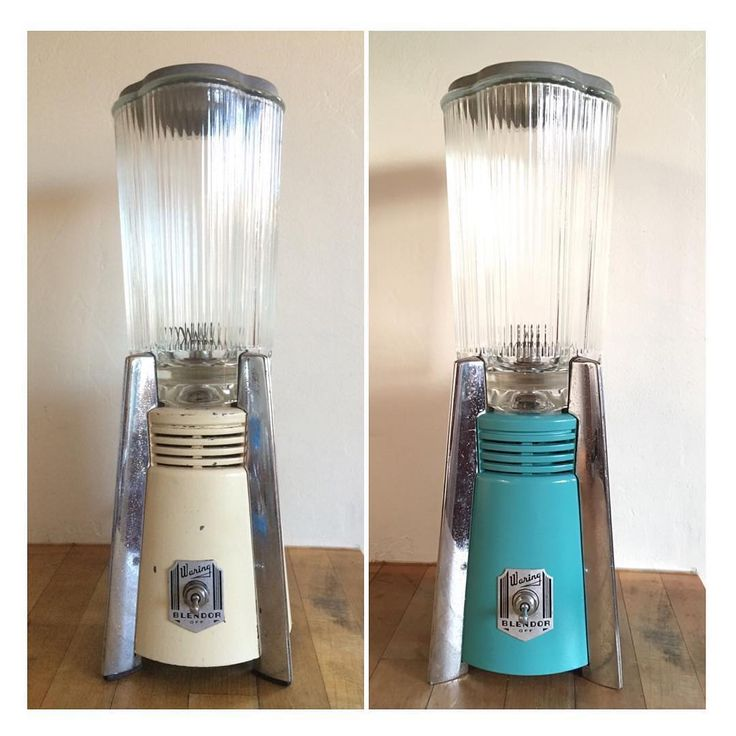 """Blender Therapy by @stackaly #Repost Before L - After R. Refinished / Rewired and Repainted, 1950's Waring """"Blendor"""". Repainted with @plutoniumpaint """"Aloha"""". #MidCentury #MidCenturyModern #HomeNotPinterest #StackProjects"""