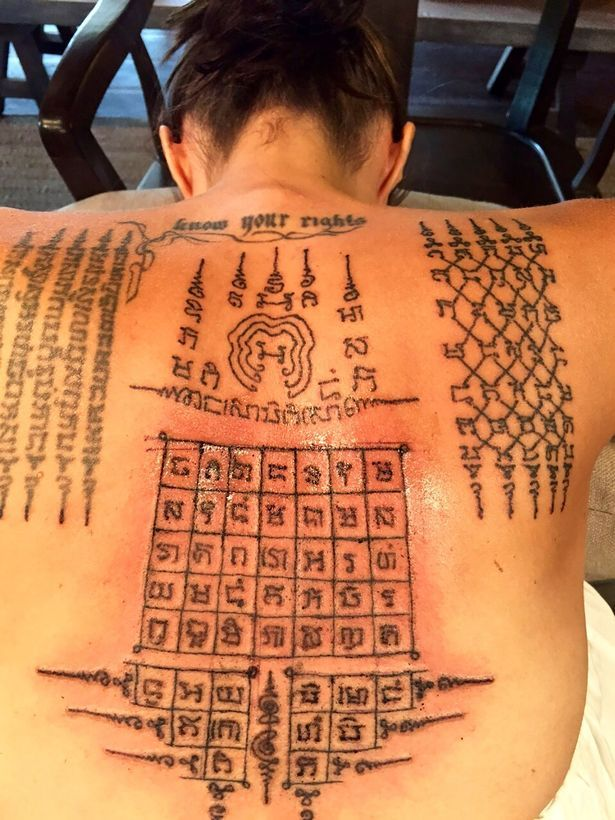 63a573356 Angelina Jolie with a traditional Sak Yant Thai tattoo #thai #tattoo #jolie