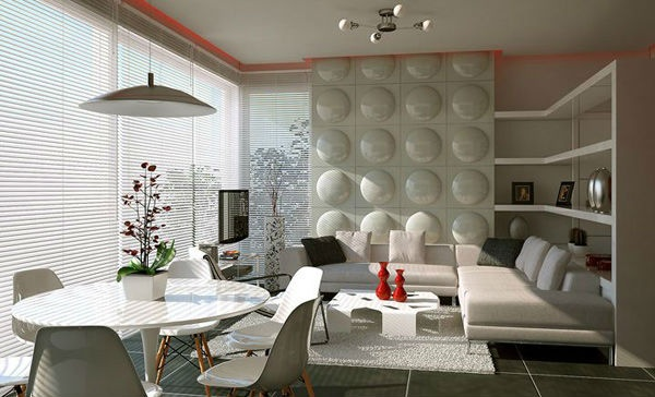 contemporary dining room ideas with feature wall treatment