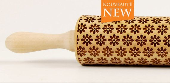 Spring full of flowers Embossing rolling pin, Engraved rolling pin
