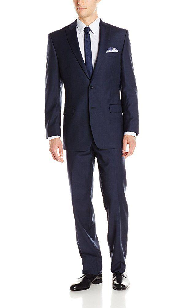Calvin Klein Men's Plaid 2 Button Side Vent Peak Lapel Slim Fit Suit, Navy, 44/Regular Best Price