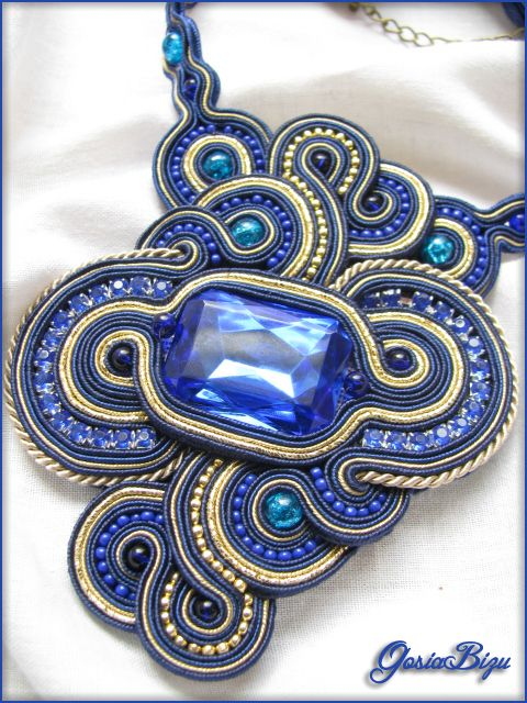 Sapphire Necklace soutache by GosiaBizu