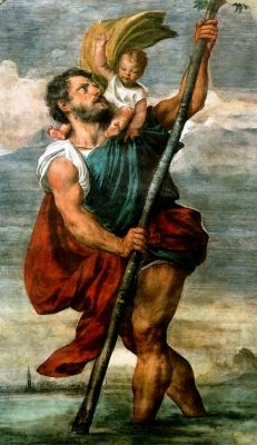 "St. Christopher: patron Saint of travellers  ""Christ Carrier""  Martyr under Decius in the 3rd century. He is also a patron saint of athletes."