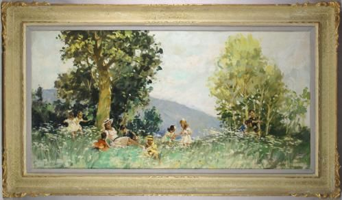 """Up for sale is vintage original oil on canvas painting by Italian artist Cosimo Privato (1899-1971). This very large painting depicts a peaceful genre scene of a family playing in the field on a beautiful tranquil summer day. It is very well executed with high level of artistic skills.  The painting itself is measuring about 47"""" (119 cm) by 24"""" (61 cm), and the frame is measuring about 56"""" (142 cm) by 33"""" (84 cm). It is signed by the artist in the lower right corner."""