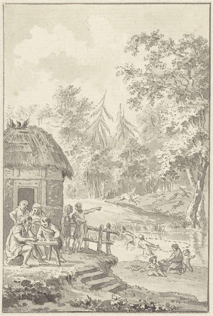 Engelbertus Matthias Engelberts | Uitspanningen der Batavieren, Engelbertus Matthias Engelberts, 1782 - 1784 | Jacht, visserij en ontspanning bij de Bataven. Ontwerp voor een prent.
