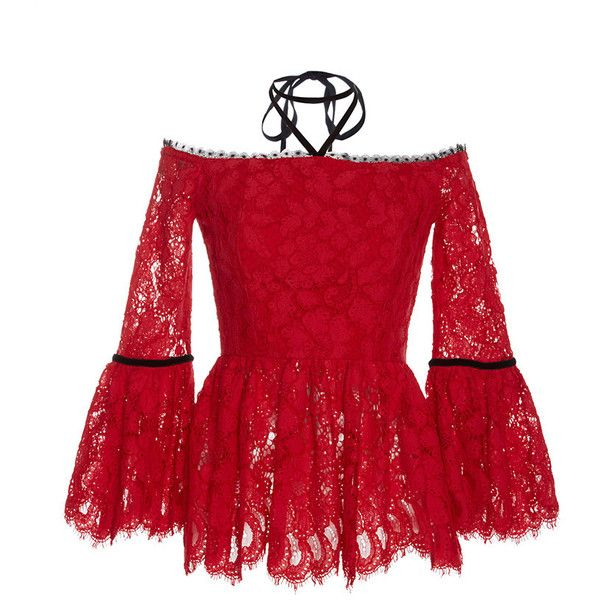 Alexis     Grace Halter Lace Top ($450) ❤ liked on Polyvore featuring tops, alexis, red, lacy tops, red halter neck top, alexis tops, halter-neck tops and red wrap top