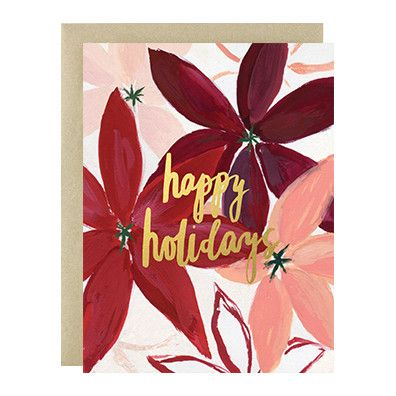 """A burst of bold poinsettias with gold foil lettering for a Happy Holidays message. - A2 size (4 1/4""""x 5 1/2"""" when folded) - Blank interior - Paired with a gold leaf envelope - Printed full color on hi"""