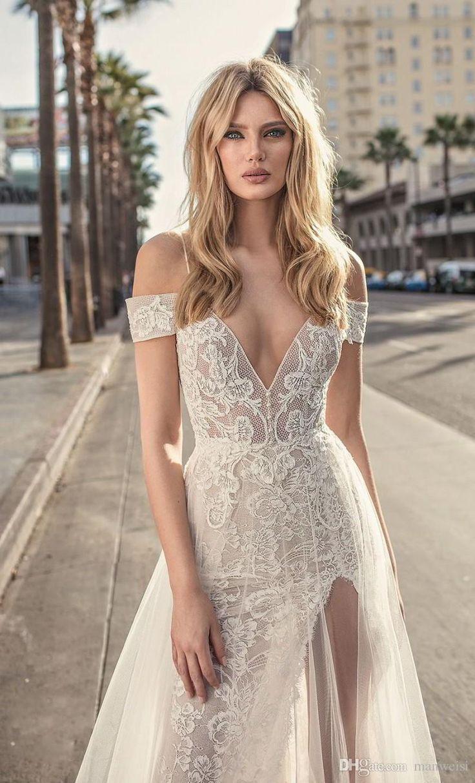 Muse by Berta 2018 Mermaid Beach Wedding Dresses Side Split Spaghetti Off Shoulder Full Lace Bridal Gowns Sexy Boho Backless Wedding Dress