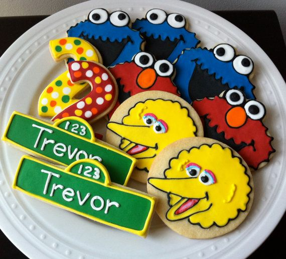 Decorated Custom Elmo, Cookie Monster, Big Bird, Number Cookies, Perfect for your Sesame Street Birthday Party
